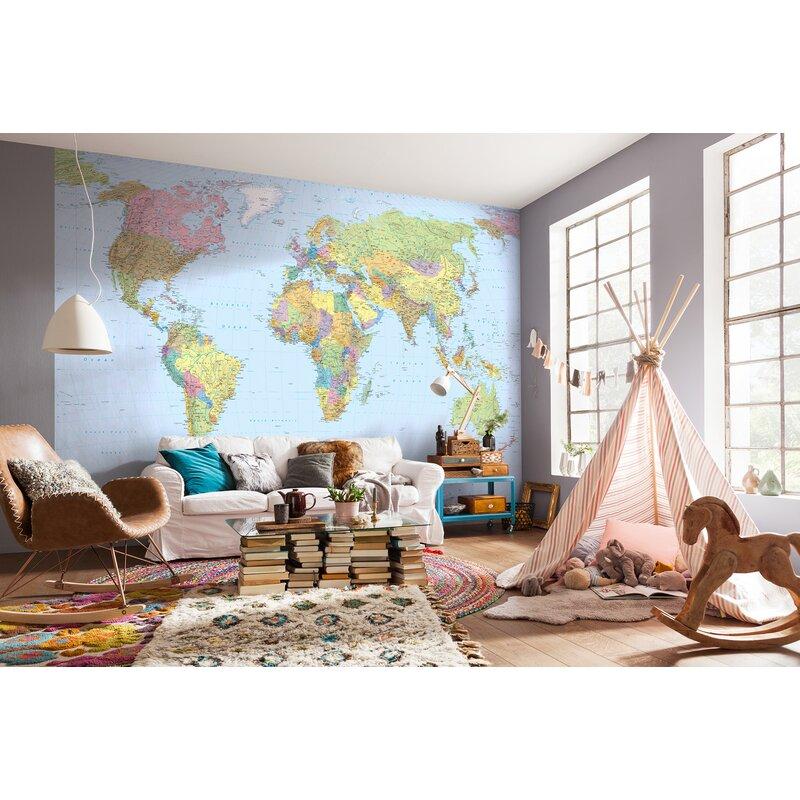 WallPops! Komar World Map 12.08\' x 98\