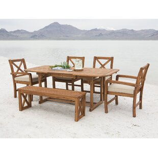 Rosecliff Heights Calvert X-Back Acacia Patio 6 Piece Dining Set with Cushions