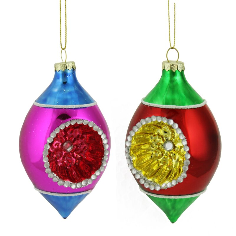 "Northlight 4.5/"" Red Green Gold Retro Reflector Glass Teardrop Christmas Ornament"