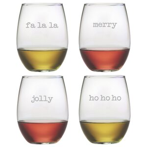 Fa La La Stemless Wine Glass (Set of 4)