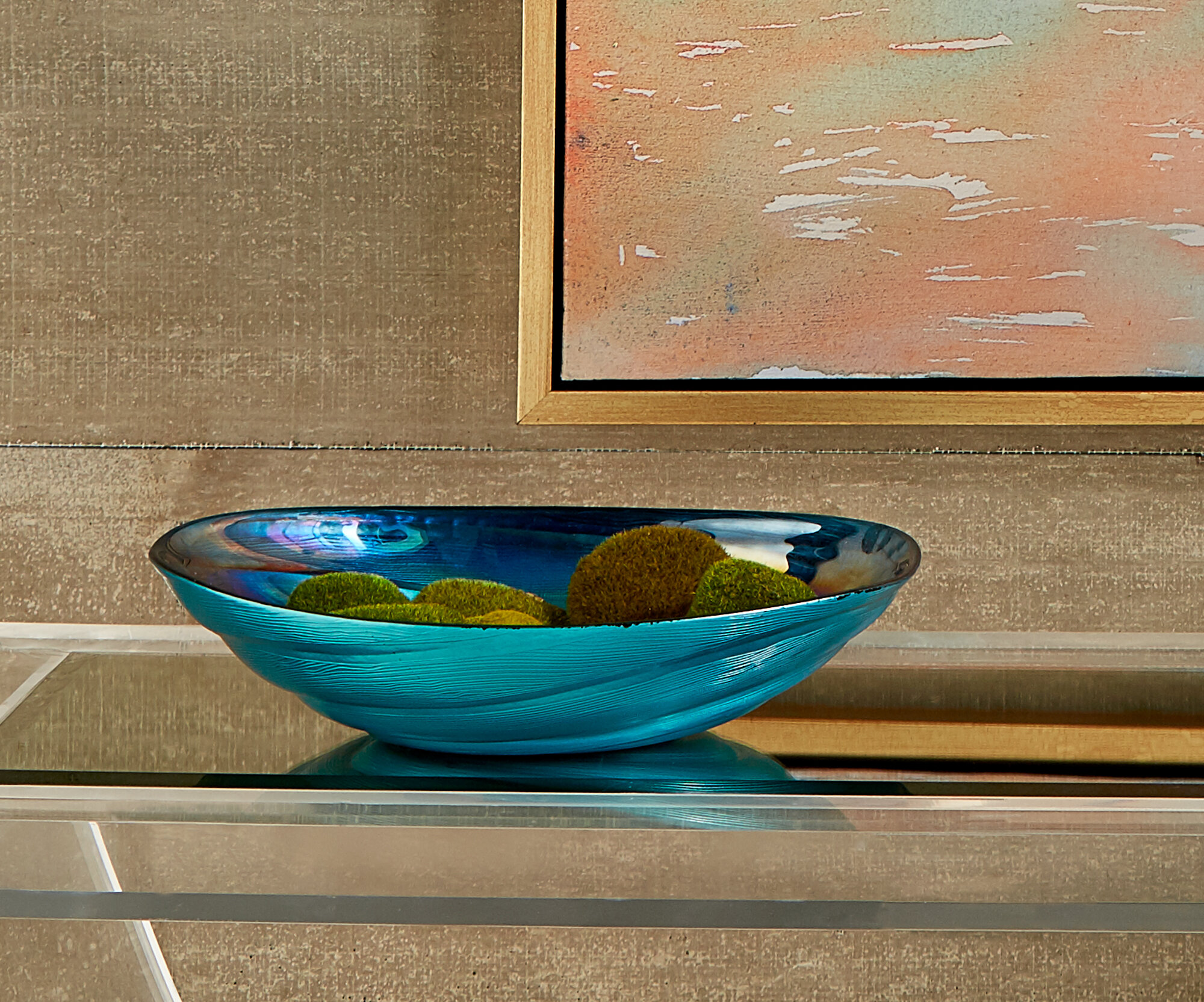 Spinney Swirl Gl Decorative Bowl