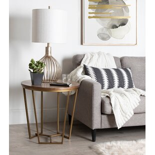 Denison Round Wood and Metal End Table