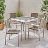 Aldrin Outdoor 5 Piece Dining Set
