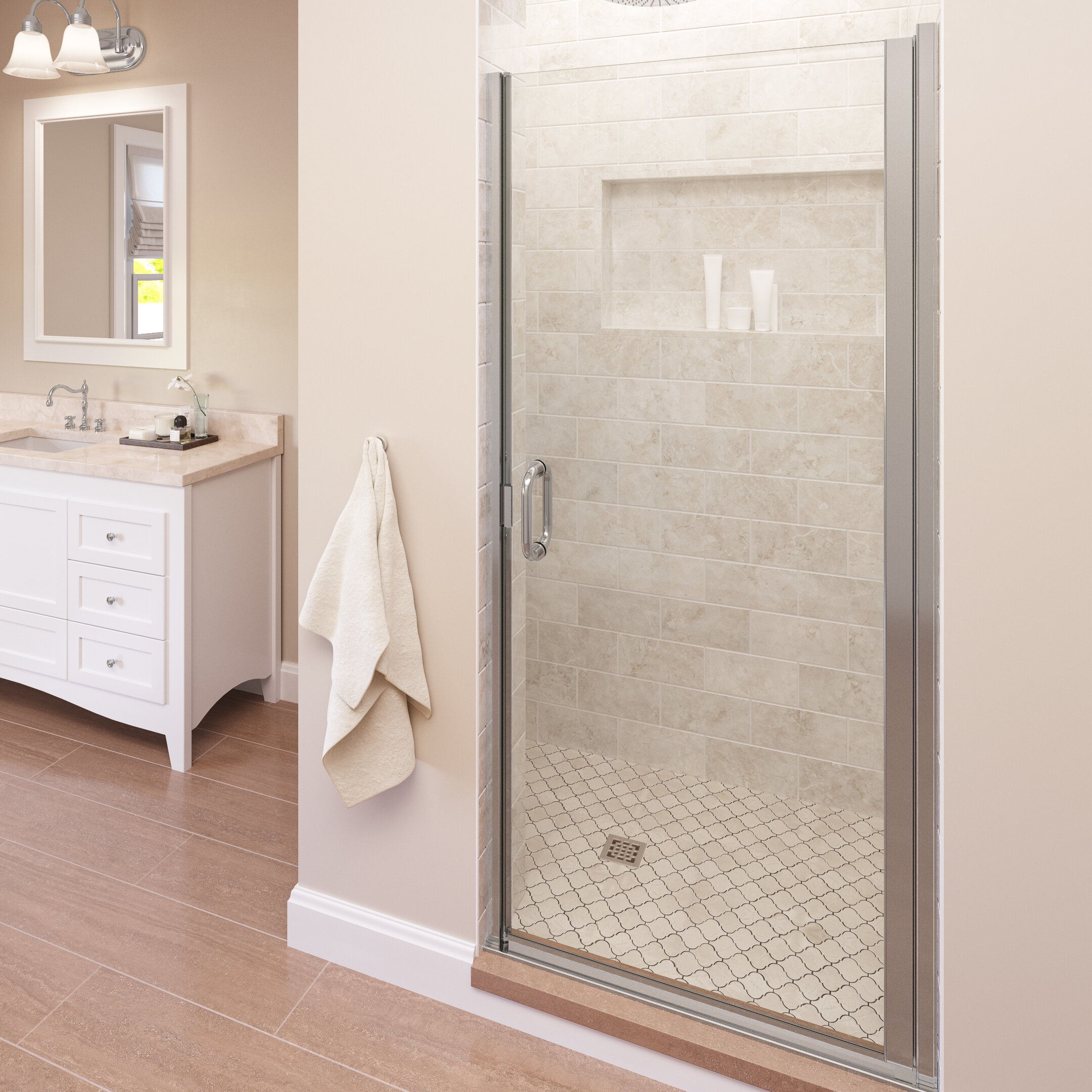 Infinity 34 X 76 Pivot Semi Frameless Shower Door