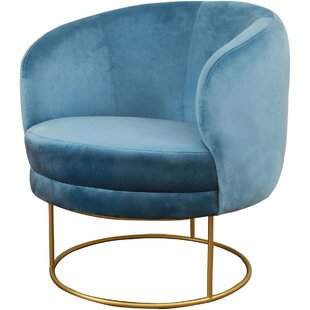 Len Velvet Barrel Chair by Everly Quinn