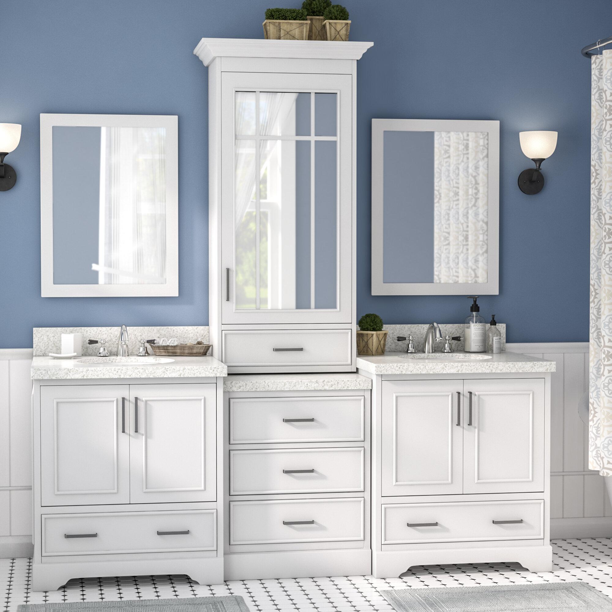 Darby Home Co Geraldina 85 Double Sink Bathroom Vanity With Mirror Wayfair