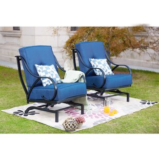 Reid Outdoor Rocking Motion Patio Chair with Cushions (Set of 2)