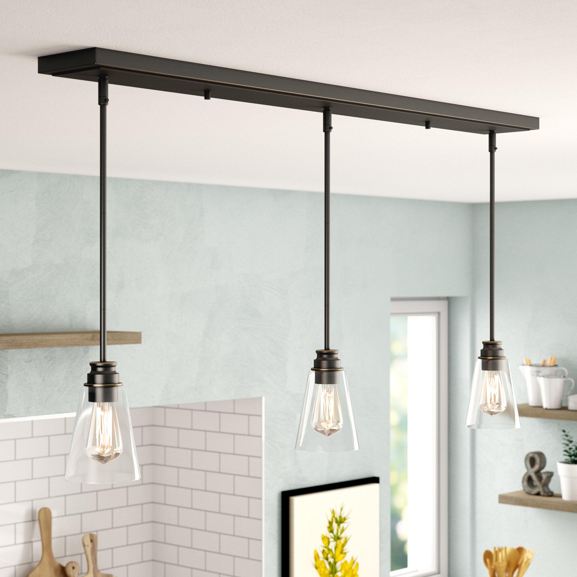 Gracie Oaks Aadila 3 Light Kitchen Island Linear Pendant Reviews Wayfair