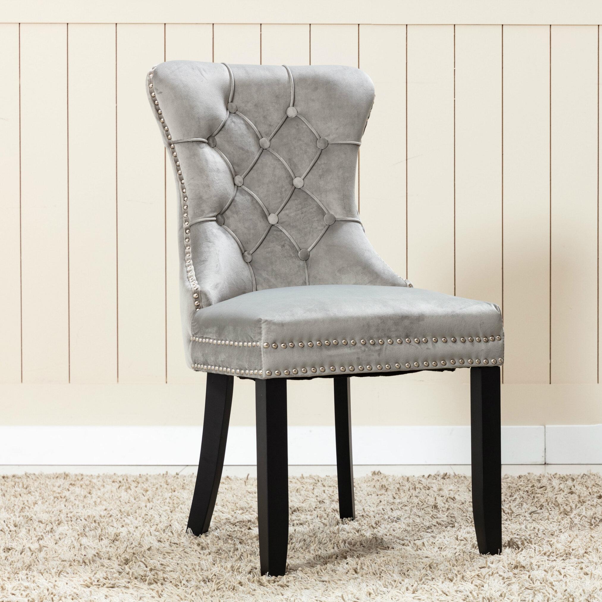 Rosdorf Park Tufted Velvet Upholstered Wingback Side Chair In Gray Wayfair