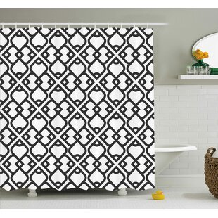 Keiko Arabesque Chevron Pattern With Middle Eastern Effects Traditional Minimalist Design Single Shower Curtain