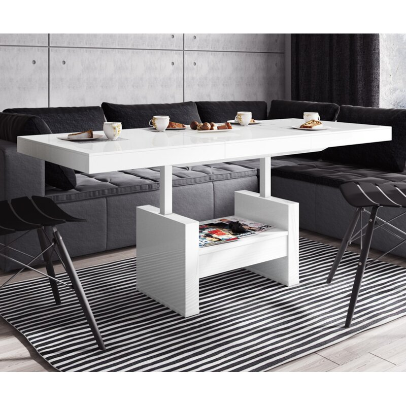 Orren Ellis Ender Lift Top Extendable Pedestal Coffee Table With Storage Wayfair