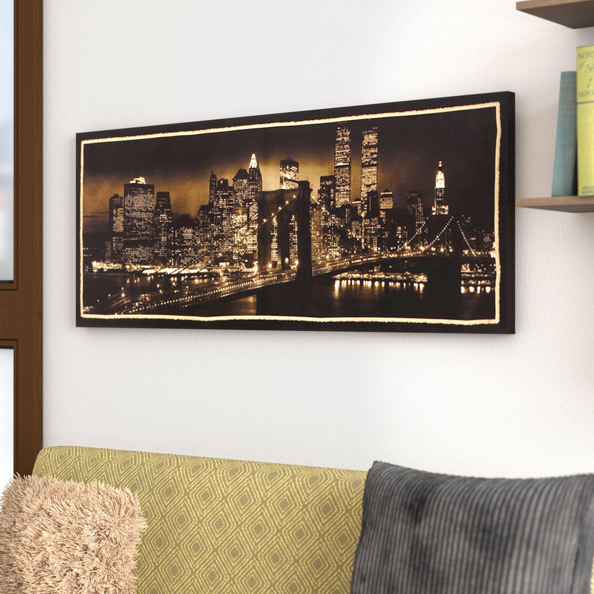 Ebern Designs New York Skyline Framed Photographic Print On Wrapped Canvas Reviews Wayfair