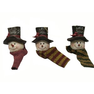 Snowmen Heads with Fabric Scarf (Set of 6)