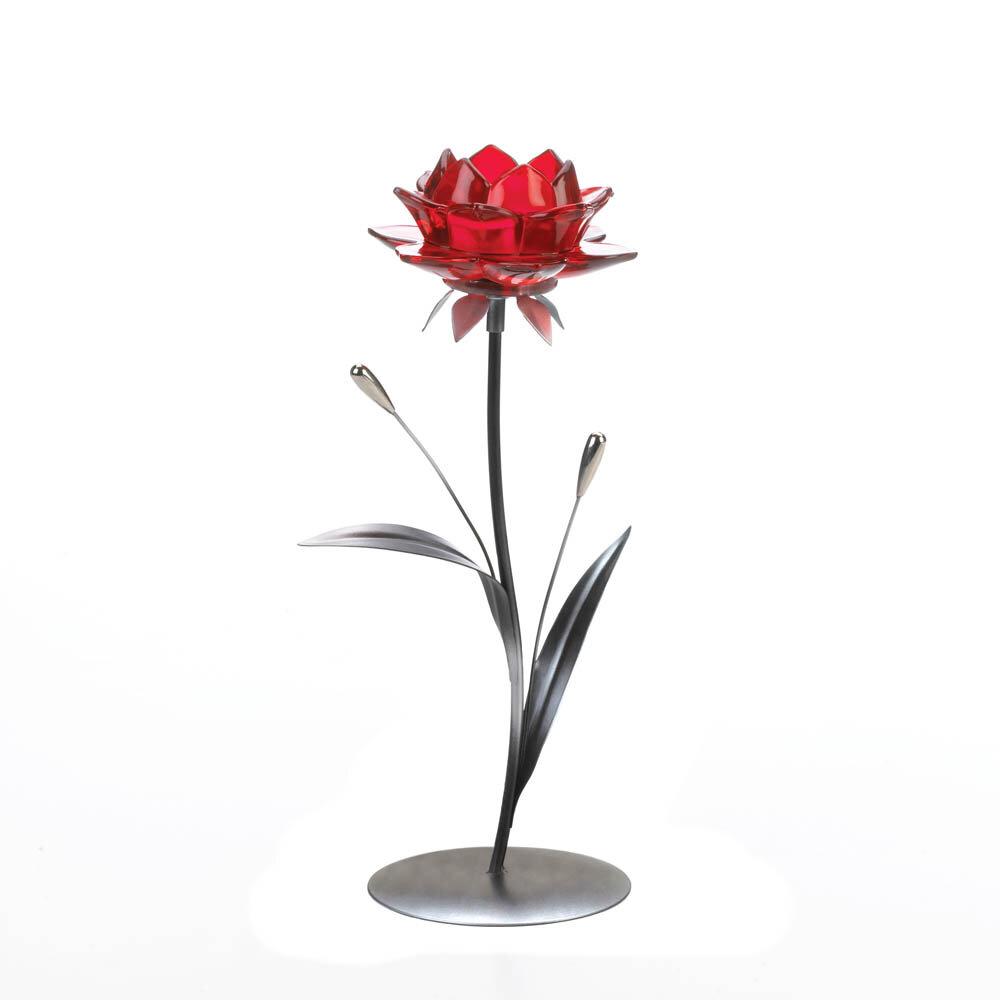Winston Porter Single Flower Glass Metal Tealight Holder Wayfair