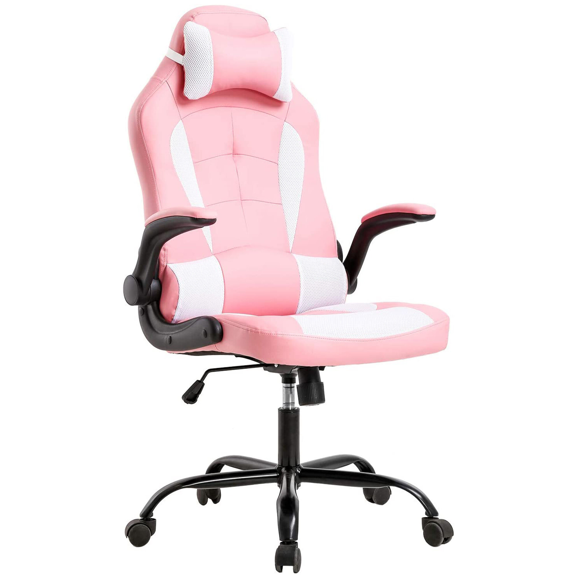 Inbox Zero Pc Gaming Chair Ergonomic Office Chair Desk Chair With Lumbar Support Flip Up Arms Adjustable Headrest High Back Pu Leather Racing Rolling Swivel Executive Computer Chair For Women Adults Girls