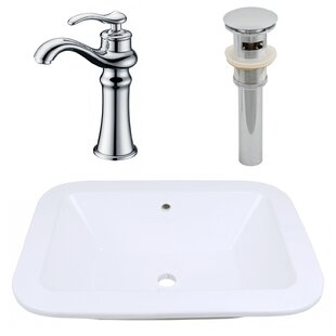 Royal Purple Bath Kitchen Ceramic Rectangular Dual Mount Bathroom Sink with Faucet and Overflow