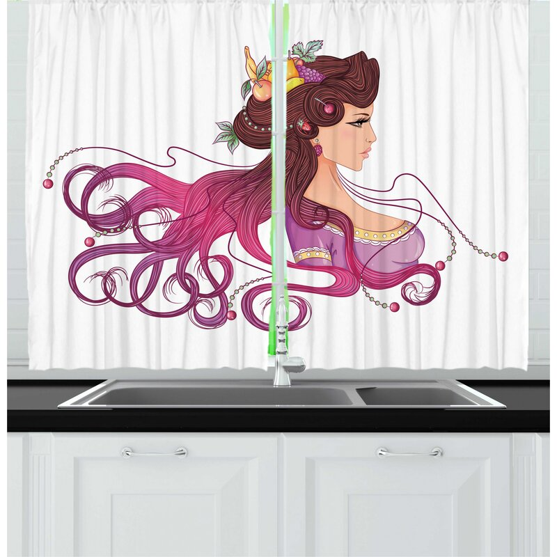 East Urban Home 2 Piece Abstract Woman Interpretation Of Hair Style Of Fruits And Swirls Graphic Kitchen Curtain Set Wayfair
