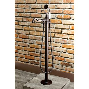 Kingston Brass English Country Single Handle Floor Mount Roman Freestanding Tub Filler with Hand Shower