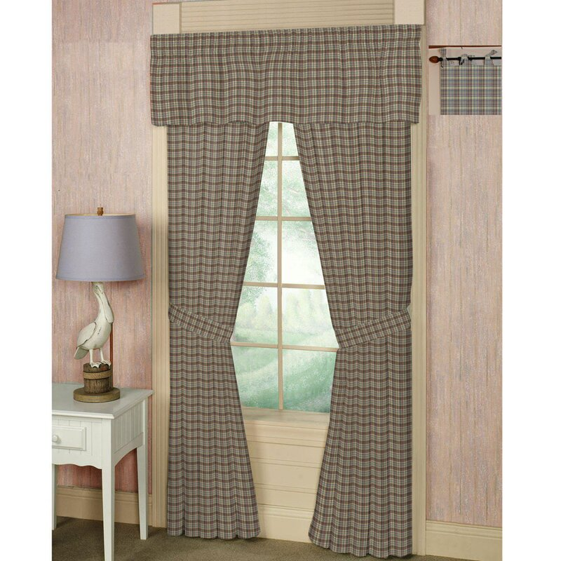 Plaid Tab Top Bed Curtain Panels