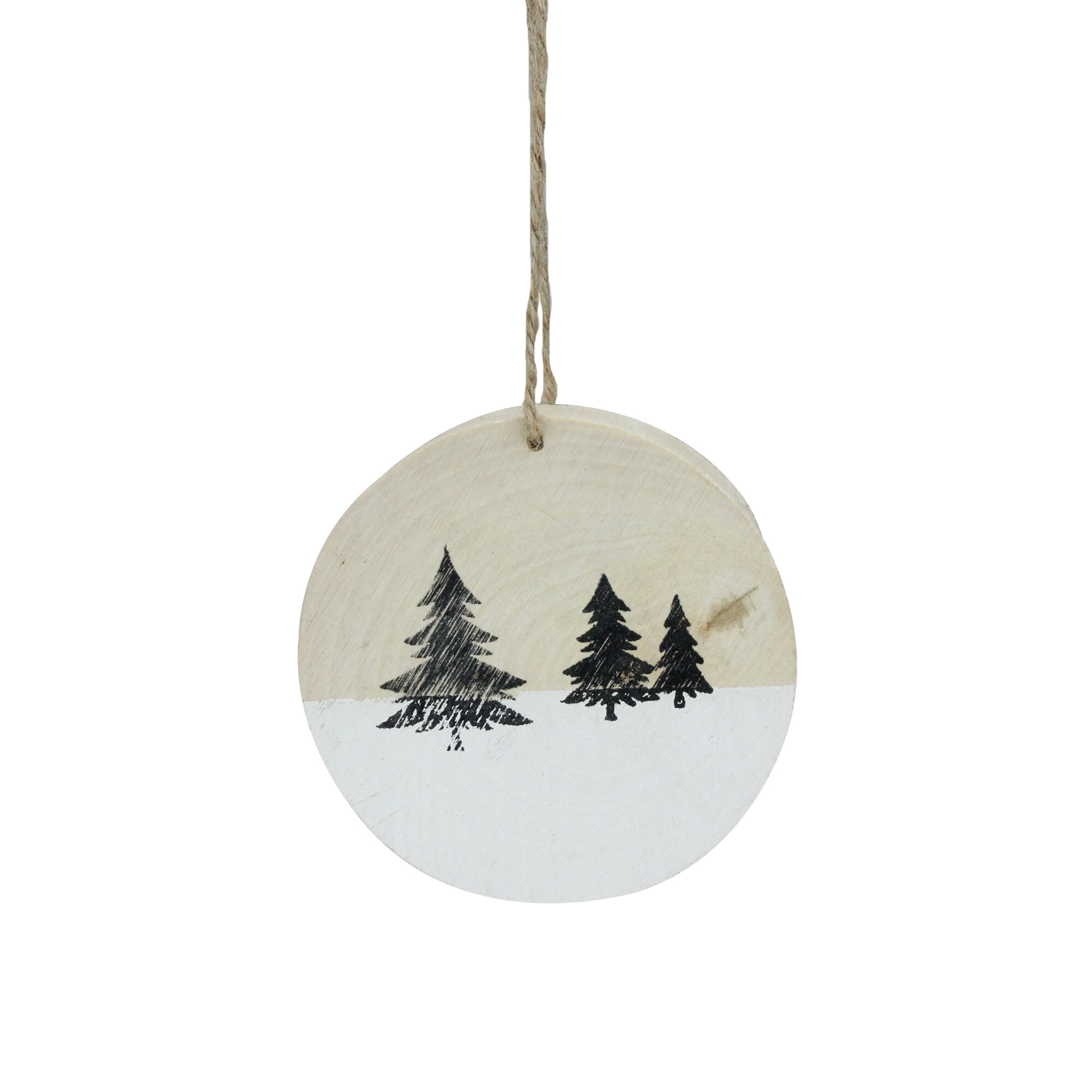 Winter Pine Trees On Wood Disc Christmas Holiday Shaped Ornament Reviews Birch Lane