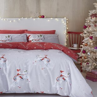 Christmas Unicorn Easy Care Duvet Cover Set By Catherine Lansfield