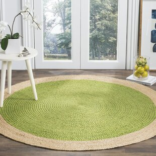 Cayla Fiber Handwoven Green/Natural Area Rug by Beachcrest Home