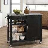 Rodrigue Kitchen Cart with Solid Wood Top by Charlton Home®