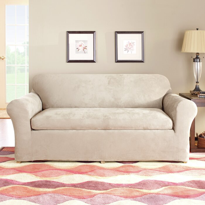 Sure Fit Stretch Suede Box Cushion Sofa Slipcover Reviews Wayfair