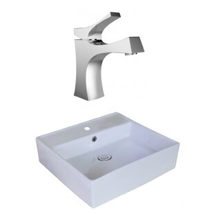 Price comparison Above Counter Ceramic Square Vessel Bathroom Sink with Faucet and Overflow By Royal Purple Bath Kitchen
