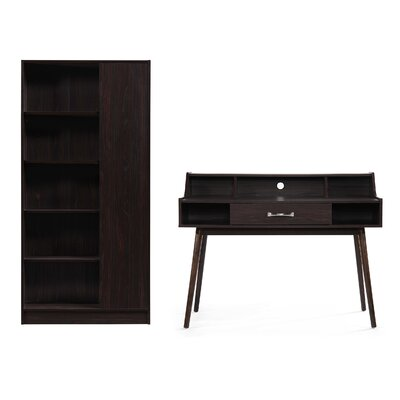 Zipcode Design Buena Vista Mid Century Modern Wood Desk with Hutch and Bookcase Set