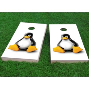 Custom Cornhole Boards Tux the Linux Mascot Cornhole Game (Set of 2)