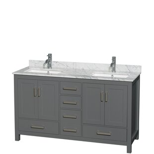 Review Sheffield 60 Double Bathroom Vanity Set by Wyndham Collection