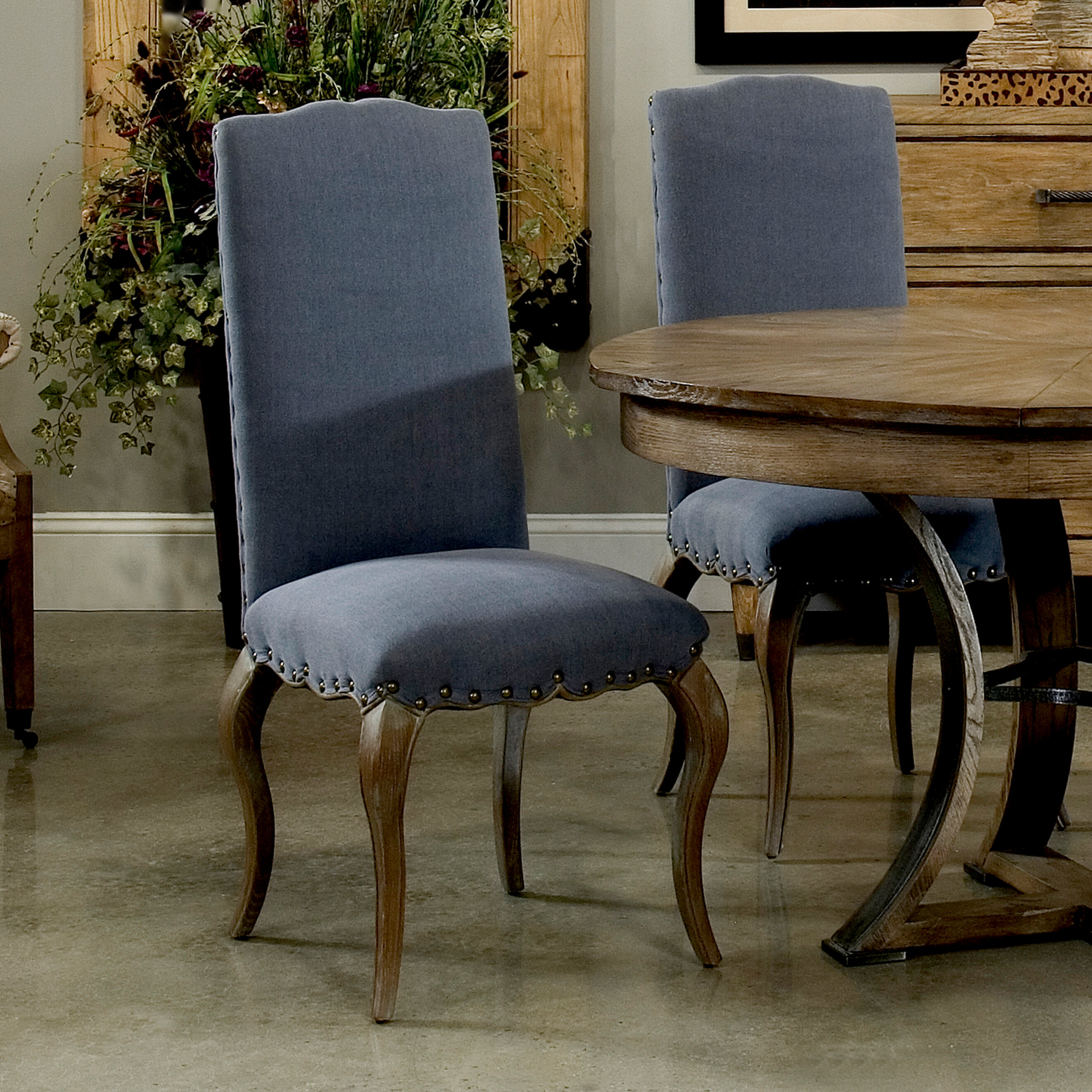Picture of: Sarreid Ltd Thorne Linen Upholstered Dining Chair In Blue Wayfair