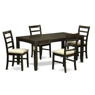Smithers Butterfly Leaf Rubber Solid Wood Dining Set
