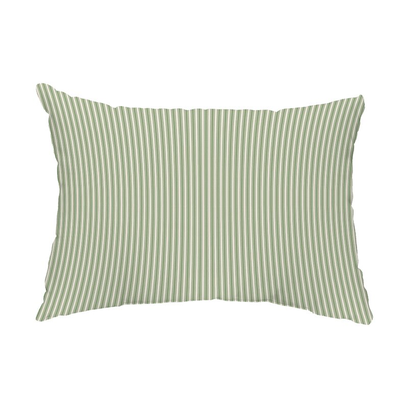 Green Wycombe Ticking Stripe Outdoor Rectangular Pillow Cover & Insert
