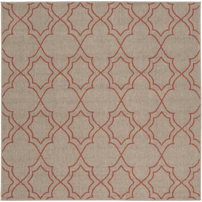 Alcott Hill Amato Taupe/Cherry Indoor/Outdoor Area Rug, Size: Square 73