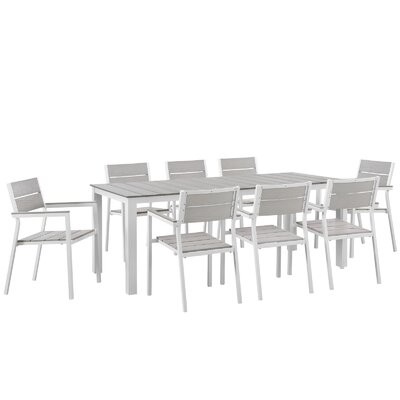 Windsor 9 Piece Outdoor Patio Dining Set by Sol 72 Outdoor Modern