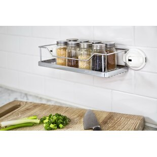 FECA No Drilling Mountable Stainless Steel Rack with Powerful Suction Cup for Bathroom/Kitchen Shelf