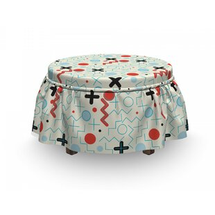Circle Zig Zag Waves Ottoman Slipcover (Set Of 2) By East Urban Home