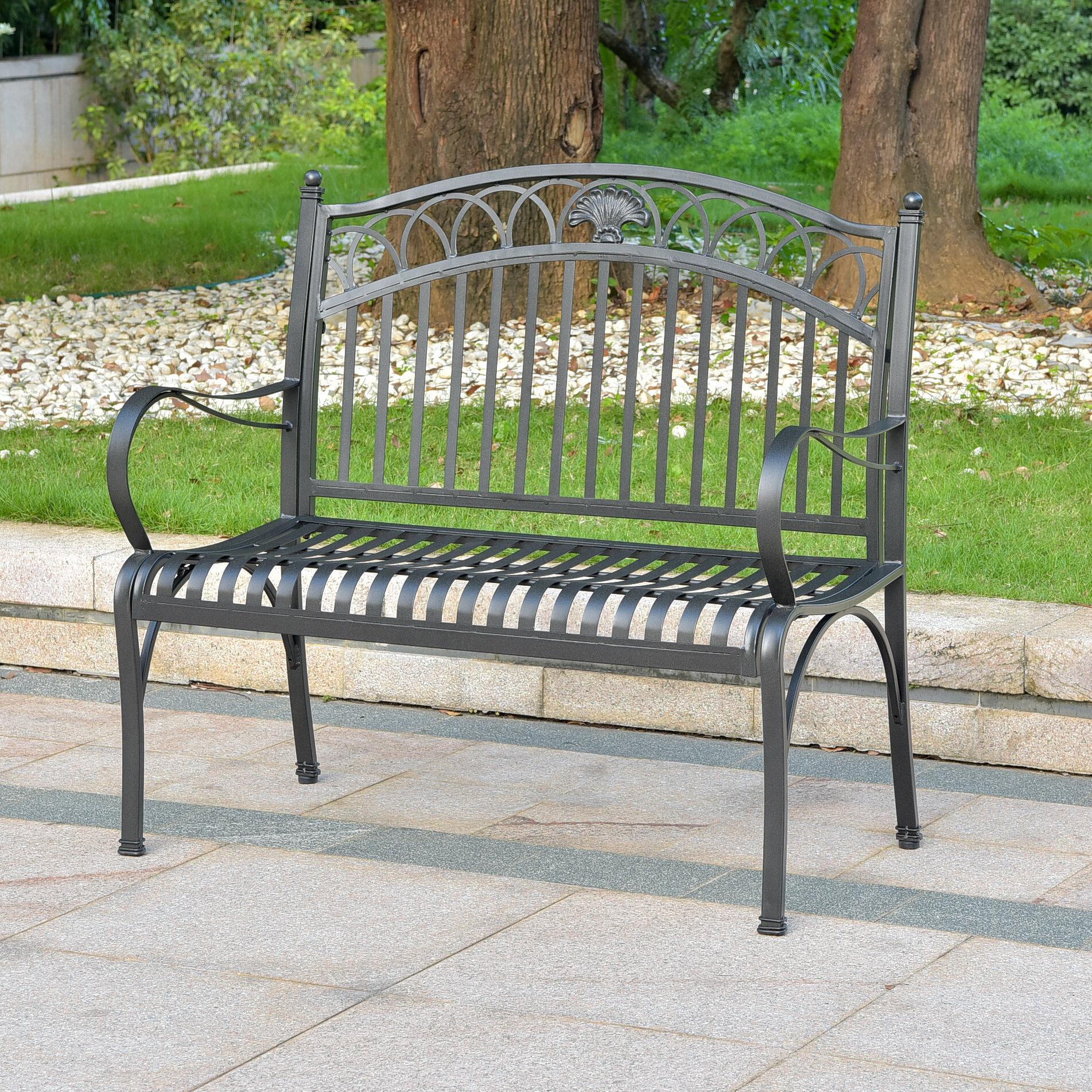 Oak Bluffs Iron Patio Garden Bench