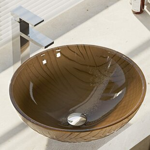 Searching for Tawny Glass Circular Vessel Bathroom Sink with Faucet By René By Elkay