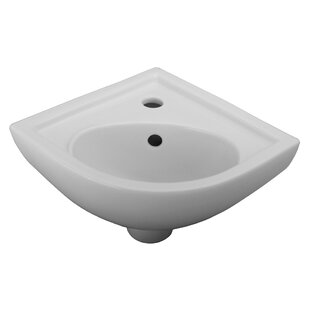 Petite Vitreous China 17.37 Wall Mount Bathroom Sink with Overflow Barclay