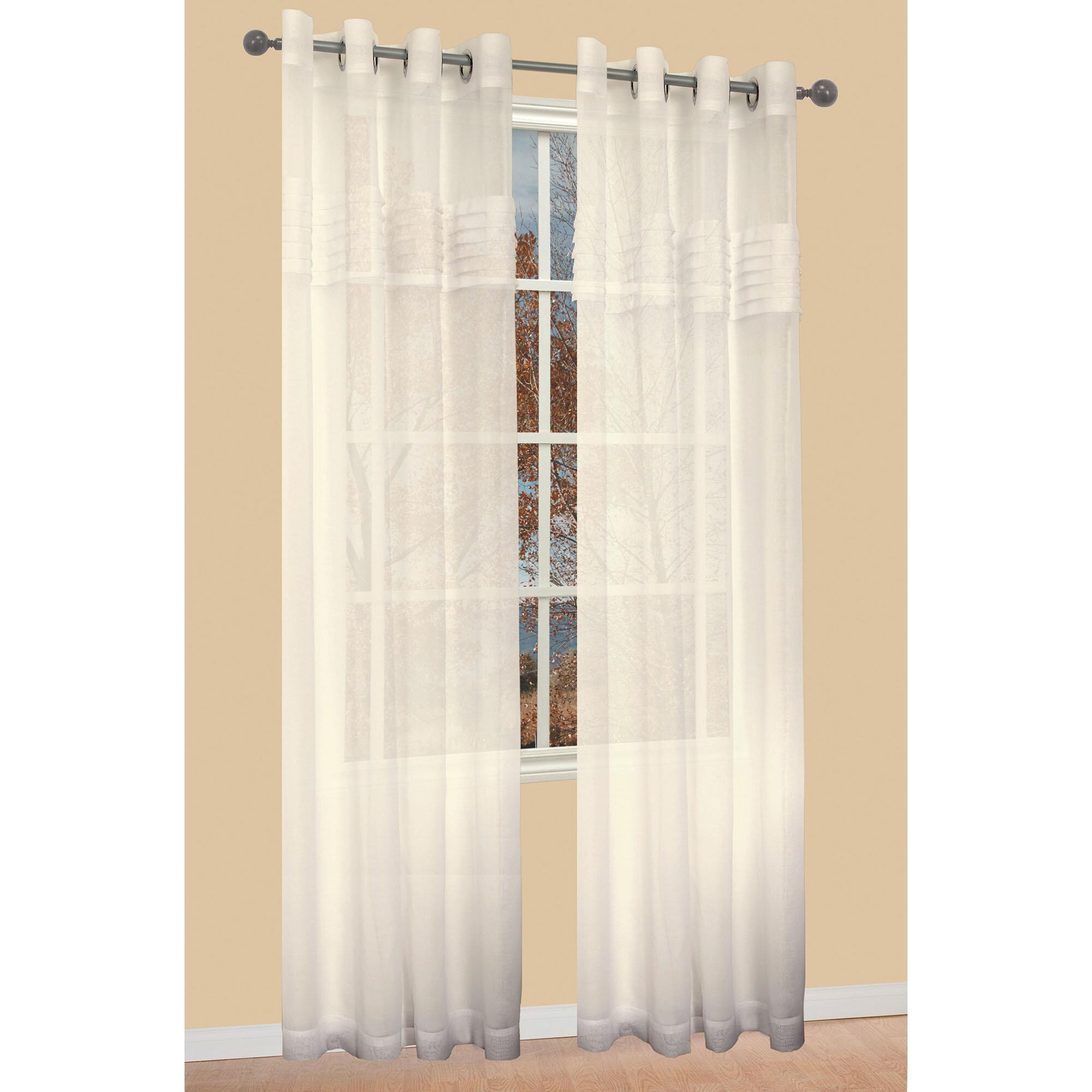 Famous Home Fashions Tuxedo Solid Sheer Grommet Single Curtain Panel Wayfair