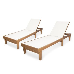 Winston Porter Stennis Outdoor Reclining Chaise Lounge (Set of 2)