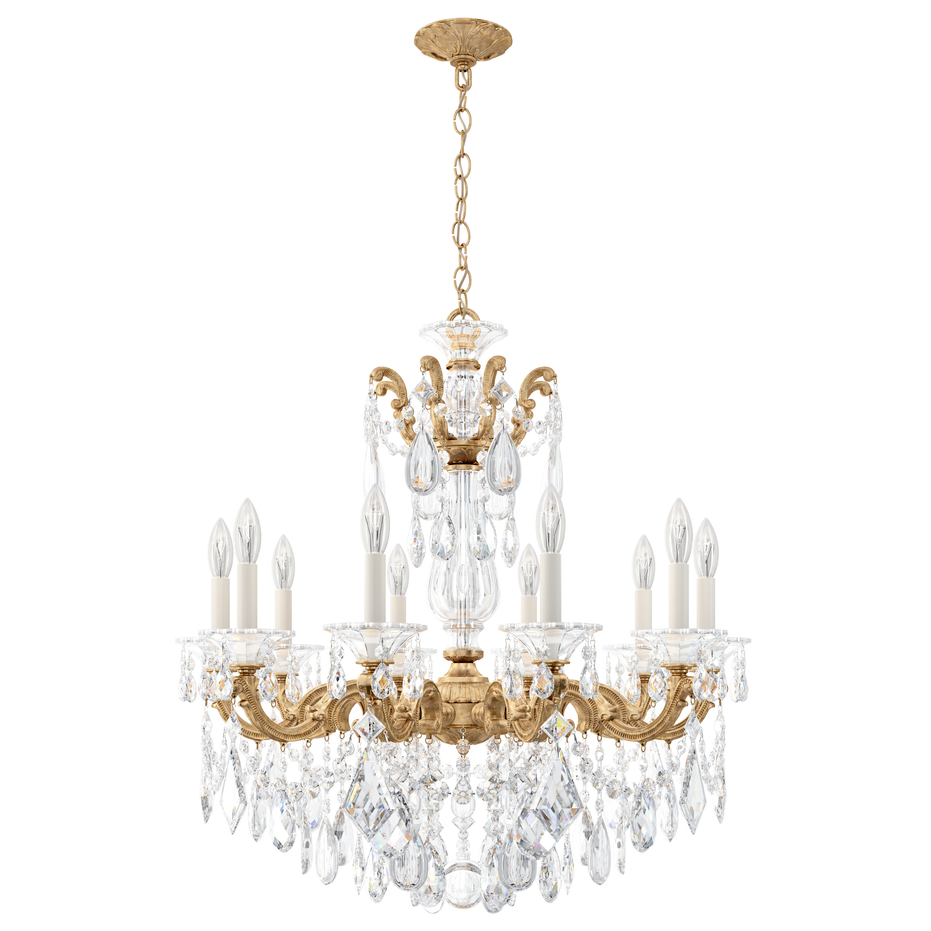 Schonbek La Scala 10 Light Candle Style Classic Traditional Chandelier With Crystal Accents Wayfair
