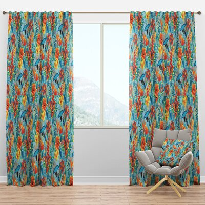 Designart 'Tropical Pattern' Tropical Curtain Panels East Urban Home
