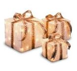 3 Piece Gift Boxed Christmas Decoration Set with Clear Lights