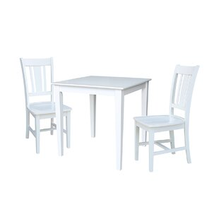 Crocker 3 Piece Solid Wood Dining Set Rosecliff Heights