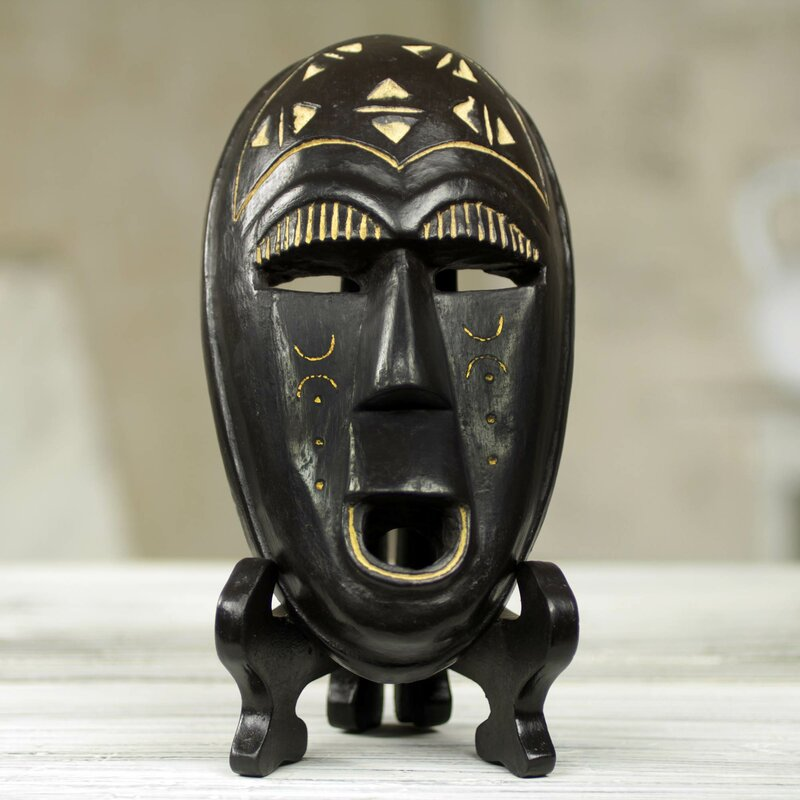 Bloomsbury Market Youngberg Wood Smiling Mask With Stand Sculpture Wayfair