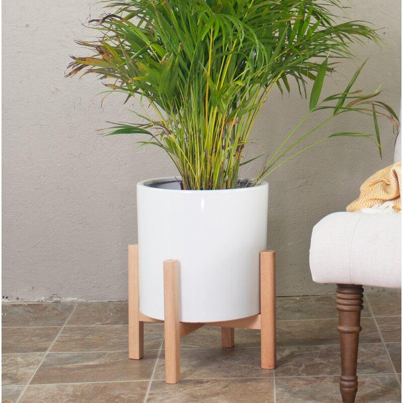 George Oliver  Brathwaite Ceramic Pot Planter with Plant Stand Color: White